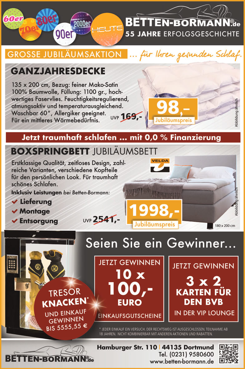 aktuelle betten angebote in dortmund betten bormann. Black Bedroom Furniture Sets. Home Design Ideas